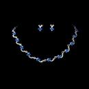 Elegance by Carbonneau NE-382-silverblue Necklace Earring Set 382 Silver Blue