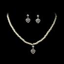 Elegance by Carbonneau NE-406-SilverWhite Necklace Earring Set NE 406 Silver (White or Ivory)