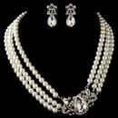 Elegance by Carbonneau NE-4083-RD-IV Rhodium Ivory Pearl & Rhinestone Side Accented Jewelry Set 4083