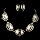 Elegance by Carbonneau NE-4210-G-CL Gold Clear Radiant Rhinestone Jewelry Set 4210