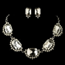 Elegance by Carbonneau NE-4210-RD-CL Rhodium Clear Radiant Rhinestone Jewelry Set 4210