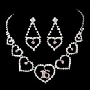 Elegance by Carbonneau NE-460-Silver-Pink-16 Matching Sweet 16 Pink Rhinestone Necklace Earring Jewelry Set NE 460 Silver