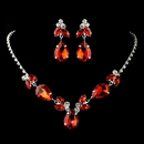 Elegance by Carbonneau Silver Red & Clear Rhinestone Necklace & Earrings Jewelry Set 47003