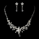 Elegance by Carbonneau ne-5461-silver-clear Silver Clear Necklace Earring Set 5461