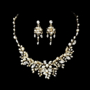 Elegance by Carbonneau NE-6206-GoldIvory Delightful Gold Clear Crystal & Freshwater Pearl Floral Necklace & Earring Set 6206