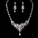 Elegance by Carbonneau NE-6820 Silver Clear Crystal & Freshwater Pearl Necklace Earring Set NE 6820