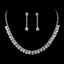 Elegance by Carbonneau NE-70654-Silverclear Stunning Silver Clear Rhinestone Necklace Earring Set 70654