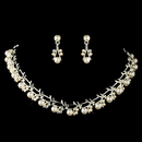 Elegance by Carbonneau NE-71400-S-WH-AB Silver AB Rhinestone & White Pearl Jewelry Set