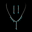 Elegance by Carbonneau NE-7157-S-Aqua Necklace Earring Set NE 7157 Silver Aqua