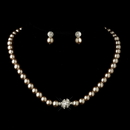 Elegance by Carbonneau NE-720-S-Lt-Brown Silver Light Brown Glass Pearl Pave Ball Necklace & Earrings Bridal Jewelry Set 720
