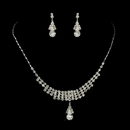 Elegance by Carbonneau NE-72023-S-Clear Silver Clear Rhinestone Necklace & Earrings Jewelry Set 72023