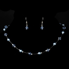 Elegance by Carbonneau NE-7220-Silver-Lt-Blue Silver Light Blue Necklace Earring 7220