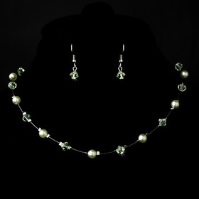 Elegance by Carbonneau NE-7220-Silver-miNt Silver Mint Necklace Earring 7220