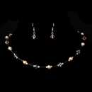 Elegance by Carbonneau NE-7220-Silver-Pink Silver Pink Necklace Earring 7220