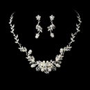 Elegance by Carbonneau NE-7223-Silver-Pearl Silver Swarovski Crystal & White Pearl Necklace Set NE 7223