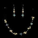 Elegance by Carbonneau NE-7239-Champagne Silver Champagne Necklace Earring Set 7239