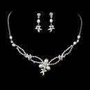Elegance by Carbonneau NE-7329-SilverWhite Lovely Silver Clear Rhinestone & White Pearl Necklace & Earring Set 7329