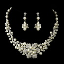 Elegance by Carbonneau NE-7660-S-Ivory Silver Ivory Pearl & Rhinestone Flower Necklace & Earrings Bridal Jewelry Set 7660