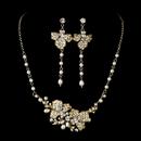 Elegance by Carbonneau NE-7803-GoldPearl Freshwater Pearl Bridal Necklace Earring Set NE 7803