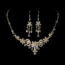Elegance by Carbonneau NE-7821-GoldClear Necklace Earring Set NE 7821 Gold Clear