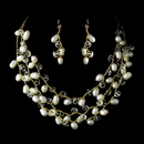 Elegance by Carbonneau NE-7829-Gold-White Gold Silk White Pearl Clear Crystal Necklace Earring Set 7829