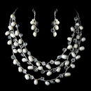 Elegance by Carbonneau NE-7829-Silver-White Silver Silk White Pearl Clear Crystal Necklace Earring Set 7829