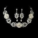 Elegance by Carbonneau NE-7844-SilverIvory Necklace Earring Set NE 7844 Silver Ivory