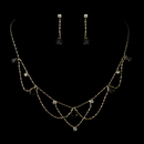 Elegance by Carbonneau NE-8000-G-Black Gold Black Rhinestone Necklace & Earrings Bridal Jewelry Set 8000