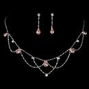Elegance by Carbonneau NE-8000-S-Pink Silver Pink Necklace & Earring Bridal Jewelry Set NE 8000