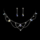 Elegance by Carbonneau NE-8000-Silver-AB Silver AB Necklace & Earring Bridal Jewelry Set NE 8000