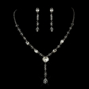 Elegance by Carbonneau NE-8008-AS-Clear Antique Rhodium Silver Clear Austrian Crystal Necklace & Earrings Bridal Jewelry Set 8008