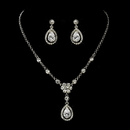 Elegance by Carbonneau NE-8010-AS-Clear Antique Silver Clear Tear Drop CZ Stone Necklace & Earrings Set 8010