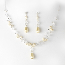 Elegance by Carbonneau NE-8146-ivory Charming Silver Ivory Pearl & AB Crystal Bead Necklace & Earring Set 8146