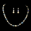 Elegance by Carbonneau NE-8148-IvoryAB Captivating Silver Ivory Pearl & AB Crystal Bead Necklace & Earring Set 8148