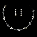 Elegance by Carbonneau NE-8149-SilverWhite Darling Silver White Pearl & Clear Crystal Bead Necklace & Earring Set 8149