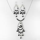 Elegance by Carbonneau NE-8153-black Contemporary Silver Black Crystal Bead Chandelier Necklace & Earring Set 8153