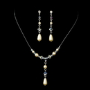 Elegance by Carbonneau NE-8154-SilverIvory Delightful Silver Ivory Pearl & AB Crystal Bead Necklace & Earring Set 8154