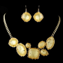 Elegance by Carbonneau Gold Light Topaz Opalescent Moonglass Necklace & Earrings Jewelry Set 8159