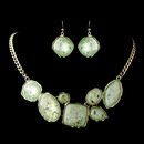 Elegance by Carbonneau Gold Mint Green Opalescent Moonglass Necklace & Earrings Jewelry Set 8159