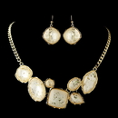 Elegance by Carbonneau Gold Peach Opalescent Moonglass Necklace & Earrings Jewelry Set 8159