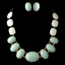 Elegance by Carbonneau Gold Mint Green Faceted Bead Tribal Fashion Necklace & Earrings Jewelry Set 8160