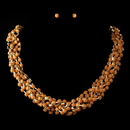 Elegance by Carbonneau Gold Orange Faceted Bead Multi Strand Interweaved Fashion Necklace & Earrings Jewelry Set 8162
