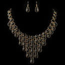 Elegance by Carbonneau NE-82027-G-Black Gold Black Acrylic Stone Bib Fashion Jewelry Set 82027