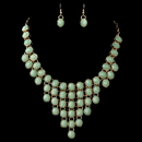 Elegance by Carbonneau NE-82027-G-Mint Gold Mint Green Acrylic Stone Bib Fashion Jewelry Set 82027