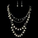 Elegance by Carbonneau NE-82028-RD-DW Rhodium Diamond White Pearl & Smoke Beaded Fashion Jewelry Set 82028