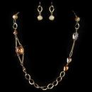 Elegance by Carbonneau NE-82030-G-Orange Gold Orang Long Fashion Crystal Beaded Jewelry Set 82030