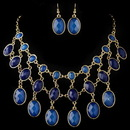 Elegance by Carbonneau NE-82032-G-Blue Gold Blue Acrylic Fashion Bib Style Jewelry Set 82032
