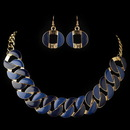 Elegance by Carbonneau NE-82033-G-Blue Gold Blue Fashion Enameled Jewelry Set 82033