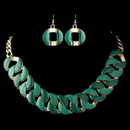 Elegance by Carbonneau NE-82033-G-Green Gold Green Fashion Enameled Jewelry Set 82033