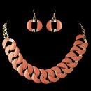 Elegance by Carbonneau NE-82033-G-Peach Gold Peach Coral Fashion Enameled Jewelry Set 82033